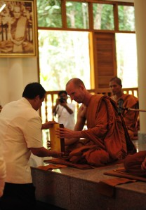Offering of the Tipitaka to Ajahn Kevali at Wat Pah Nanachat