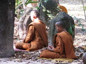 Monks Listening to a Talk at Wat Pah Pong