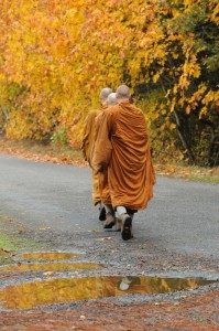 Bhikkhus on almsround in Washington State