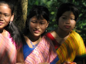 The young Chittagong women at an alms giving ceremony