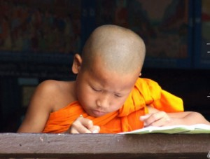 Buddhist Novice taking Royal Park Exams
