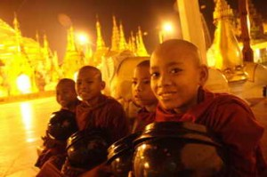Novices at the Shwedagon Pagoda