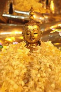 Garlanded Buddha in Burma