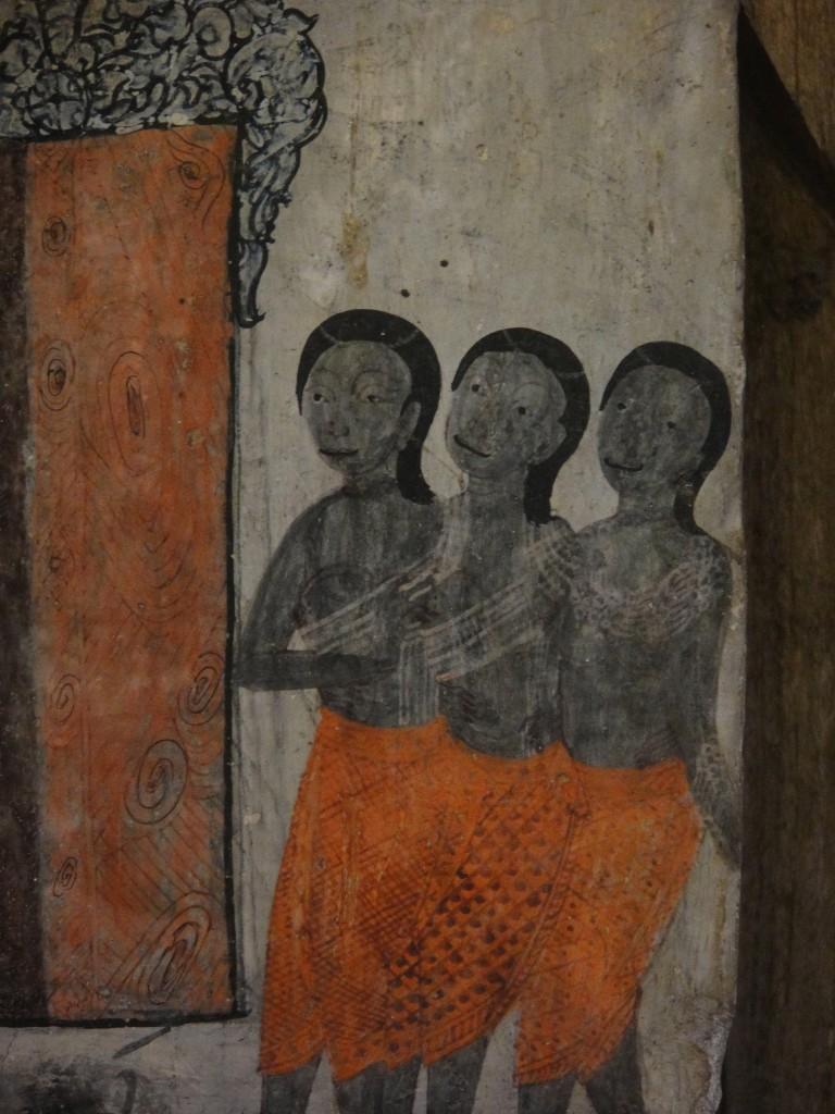 Wall Painting of Three Women at Wat Pa Houak, Luang Prabang