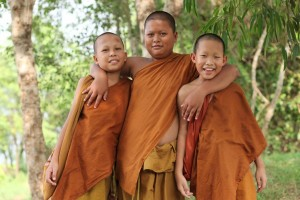 Three Novices at Wat Pah Boon Lawm